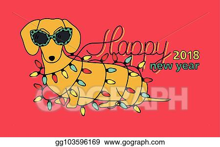 congratulation with funny dachshund in glasses and christmas lights colorful vector illustration in cartoon style happy new year 2018