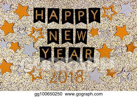 happy new year 2018 text banner with strings of stars against glittery gold