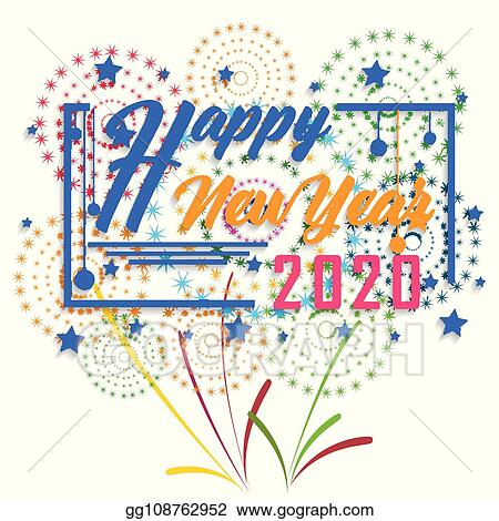 Happy New Year Clipart 2020.Vector Illustration Happy New Year 2020 Background With