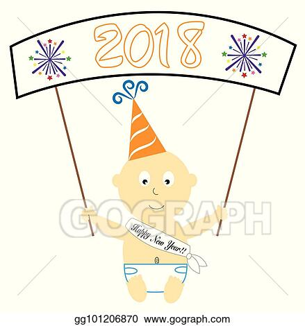 Vector Clipart Happy New Year Baby Banner Vector Illustration Gg101206870 Gograph