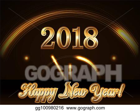 happy new year background with magic gold clock countdown five minute golden numbers 2018 christmas night design light glitter