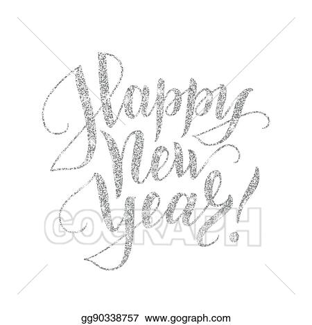 happy new year card with silver glitter lettering