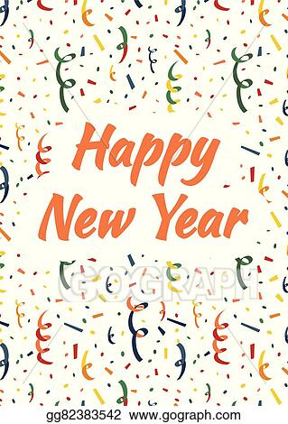 happy new year cover with exploding party popper colorful serpentine and confetti on background