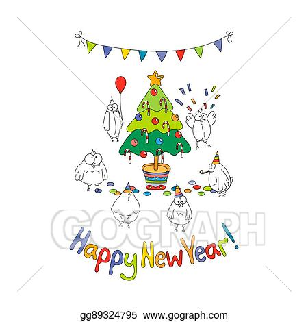 happy new year greeting card with cartoon funny birds