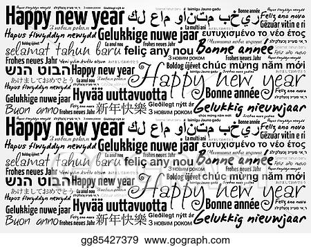 Vector Clipart - Happy new year in different languages. Vector ...