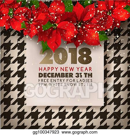 happy new year party invitation poster of christmas poinsettia vector retro background