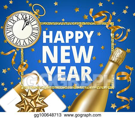 vector stock happy new year with golden serpentine streamers on blue background clipart illustration gg100648713