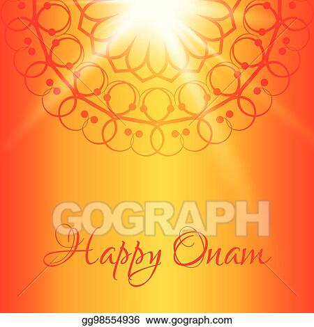 happy onam greeting card with orange background