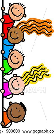 stock illustration happy page border kids clipart gg71900600 rh gograph com People Gathering Together Clip Art Helping Hands Clip Art Borders