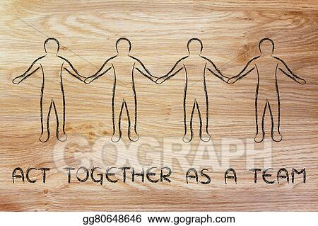 drawings happy people holding hands and acting together as a team