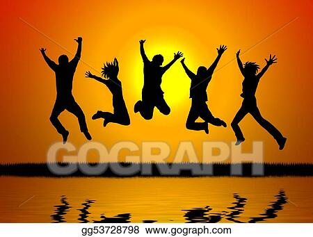 stock illustration happy people sunset clipart drawing gg53728798