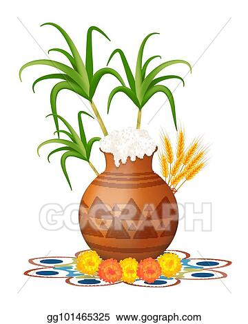 Vector illustration happy pongal greeting card holiday india happy pongal greeting card holiday india festival of harvesting celebrations with rice in traditional mud pot sugarcane marigold or genda or zendu m4hsunfo