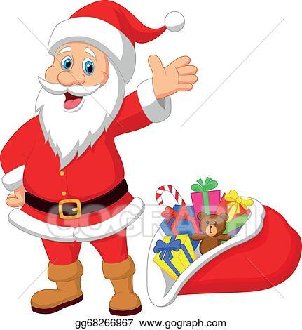 Vector Clipart Happy Santa Clause Cartoon With Gif Vector Illustration Gg68266967 Gograph