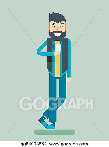 Eps Vector Happy Smiling Adult Man Geek Hipster Character Listen