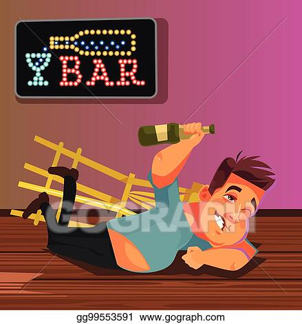 Eps Illustration Happy Smiling Drunk Man Character Laying On Bar