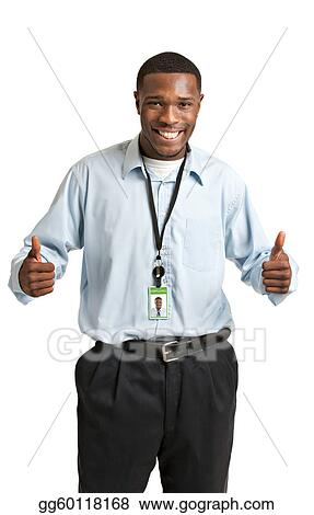 picture happy smiling working carrying employee badge stock