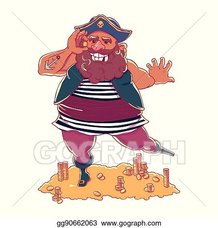 06e96d2029360 Vector Illustration - Happy tattooed pirate with a prosthetic device ...
