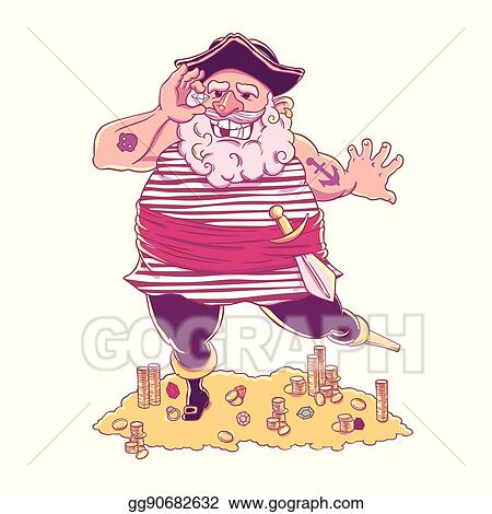 0f5ef3238d6da EPS Vector - Happy tattooed pirate with a prosthetic device ...