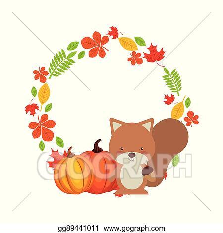 Happy thanksgiving wreath. Vector stock card clipart