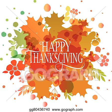 Happy Thanksgiving Day Watercolor Logotype Badge And Icon