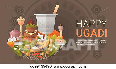 Vector stock happy ugadi and gudi padwa hindu new year greeting happy ugadi and gudi padwa hindu new year greeting card holiday m4hsunfo