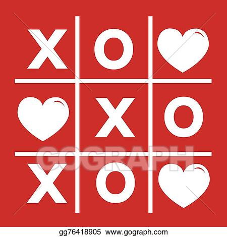 Vector Stock Happy Valentines Day Card Tic Tac Toe Game Cross