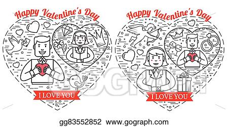 Vector Stock Happy Valentine S Day Greetings Card Labels Badges