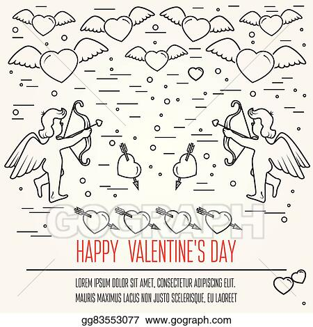 Vector Illustration Happy Valentines Day Greetings Card Labels
