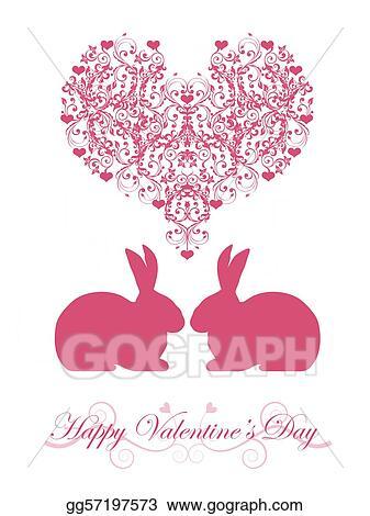 clip art - happy valentines day honeysuckle pink bunny rabbit, Ideas