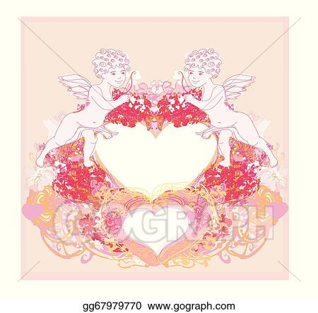 Vector Art Happy Valentines Day Vintage Card With Cupids And