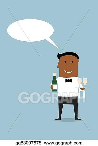 Vector Clipart - Happy waiter with bottle and wine glasses  Vector