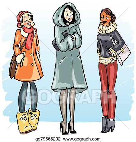 5a87879c6d Vector Art - Happy women in winter clothing. Clipart Drawing ...