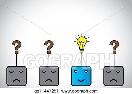 Happy Young Person With Idea Light Bulb Sad Ones Question Mark Blue Alert Smart Professional Thinking Innovative Bright Lightbulb Others