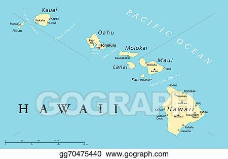 Vector Stock Hawaii Islands Political Map Stock Clip Art
