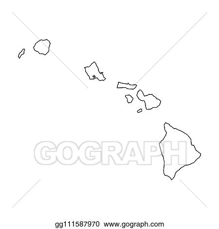 Vector Stock - Hawaii, state of usa - solid black outline map of ...