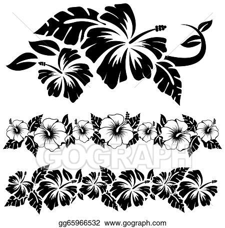 Eps Vector Hawaiian Hibiscus Flowers Stock Clipart Illustration