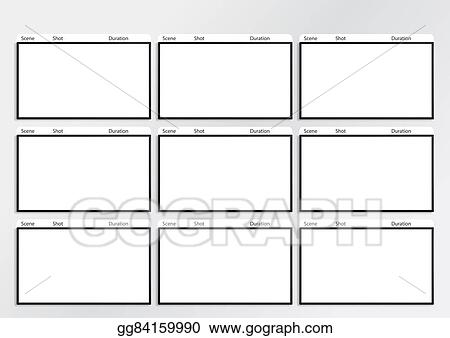 Stock Illustration - Hdtv Storyboard Template 9 Frame. Clipart