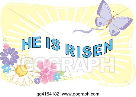 stock illustrations he is risen illustra stock clipart gg4154182 rh gograph com he is risen clipart for tooth picks cupcake he is risen clipart
