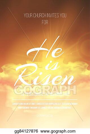 he is risen vector easter religious poster template with transparency and gradient mesh