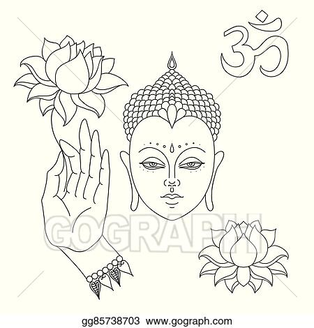Vector Art Head Of Buddha Om Sign Hand Drawn Buddha Hand With