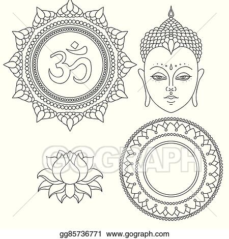 Eps vector head of buddha om sign hand drawn lotus flower hand drawn lotus flower isolated icons of mudra beautiful detailed serene vintage decorative elements indian hindu motifs tattoo yoga spirituality mightylinksfo