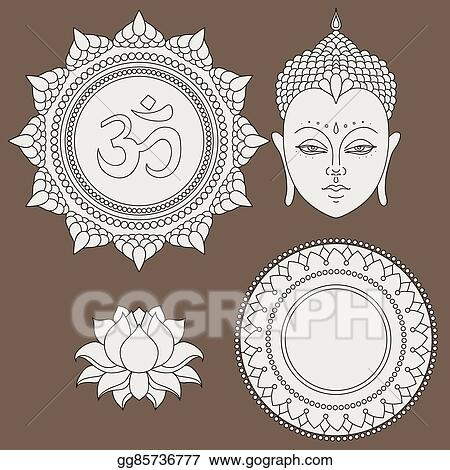 Vector stock head of buddha om sign hand drawn lotus flower hand drawn lotus flower isolated icons of mudra beautiful detailed serene vintage decorative elements indian hindu motifs tattoo yoga spirituality mightylinksfo