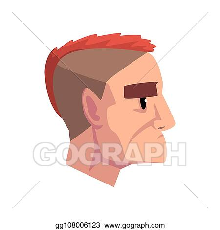 Vector Art Head Of Young Brutal Man With Mohawk Hairstyle Profile