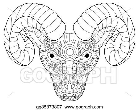 ae58c8521 Vector Art - Head ram coloring vector for adults. Clipart Drawing ...