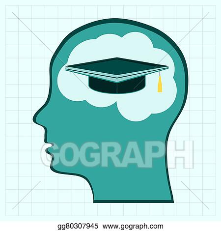 clip art vector head think silhoutte man and his mind about