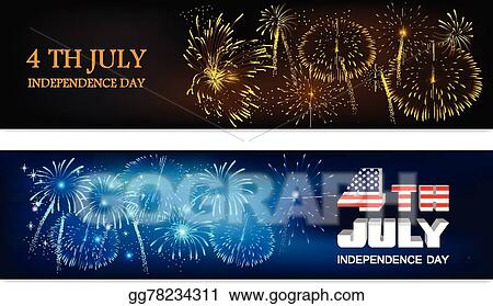vector illustration american independence day celebrations website header or banner set with shiny fireworks and national flag eps clipart gg78234311