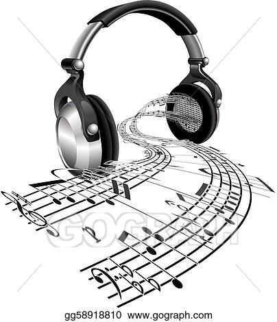 Vector Art Headphones Sheet Music Notes Concept Eps Clipart