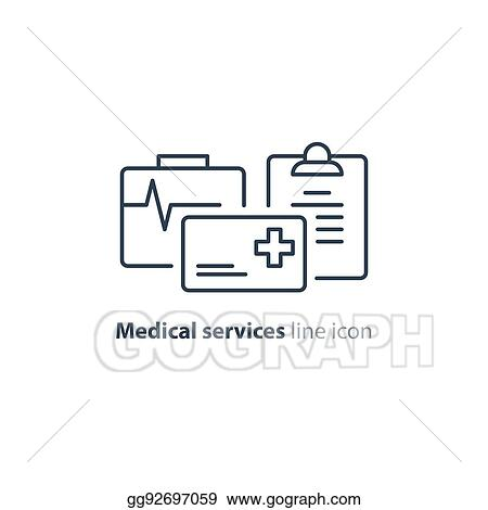 health care services thin line icon insurance card logo