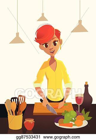 Vector Illustration - Healthy food, cartoon woman cooking in