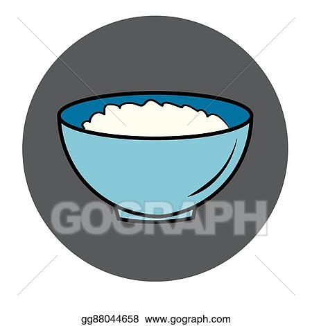 Vector Clipart Healthy Food Icon Porridge Blue Plate Vector Illustration Gg88044658 Gograph